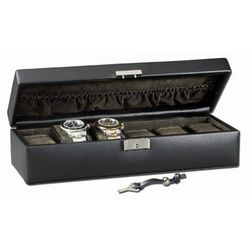 Men's Sleek Black Leather 6 Watch Box