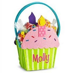 Personalized Cupcake Felt Basket with Treats