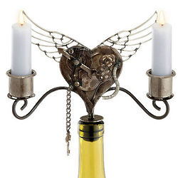 Steampunk Heart Wine Bottle Candelabra
