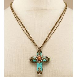 Western Spirit Turquoise Cross Necklace