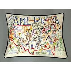 Hand Embroidered America Accent Pillow
