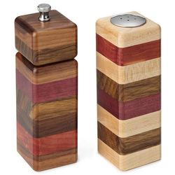 Layered Wood Pepper Grinder and Salt Shaker Set