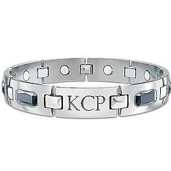 Optimum Men's Titanium Magnetic Bracelet Engraved with Initials