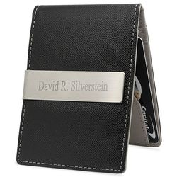 Personalized Slim Leatherette Money Clip Wallet and Card Holder
