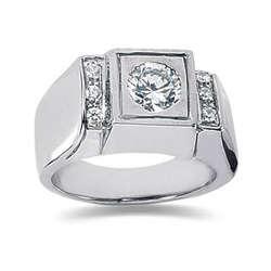 0.12 ctw Men's Diamond Ring in 14K White Gold