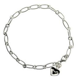 Tiffany Style Carved Heart Anklet in Sterling Silver