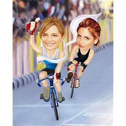 Female Duo Bicycle Racing Caricature Print from Photos