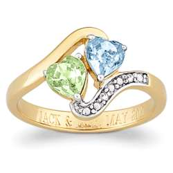 Couple's Birthstone Hearts Engraved Ring