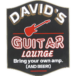 Personalized Guitar Lounge Wooden Sign