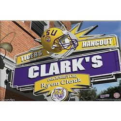LSU Tigers Football Personalized 16x24 Pub Sign Canvas