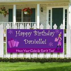 Personalized Birthday Girl Party Banner