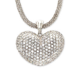 Sterling Silver 17-Carat Cubic Zirconia Puffed Heart Pendant