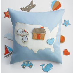 USA Map Adventure Pillow with Appliques