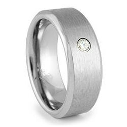 Tungsten and Diamond Ring