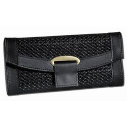 Black Leather Travel Jewelry Wallet