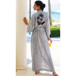 West Indies Striped Linen Robe