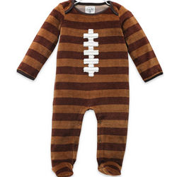 Velour Football Footed One Piece