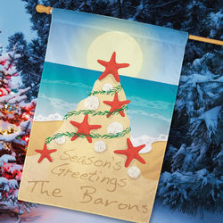 Personalized Tropical Christmas House Flag