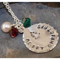Merry Christmas Hand Stamped Necklace
