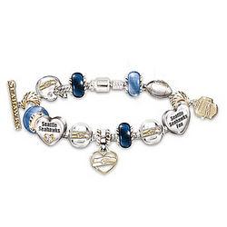 Seattle Seahawks Charm Bracelet with Swarovski Crystals