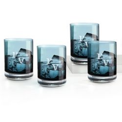 4 Blue Monogrammed Double Old Fashioned Glasses