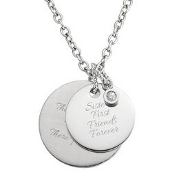 2 Personalized Platinum Dipped Circles Necklace