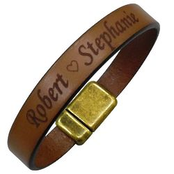 Personalized European Leather Bracelet with Antique Clasp