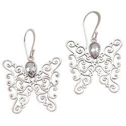 Butterfly Swirls Blue Topaz Dangle Earrings