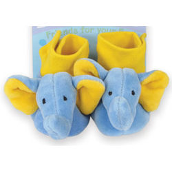 Velour Elephant Baby Booties