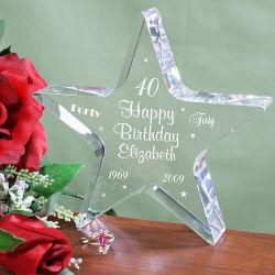 Personalized 40th Birthday Star Keepsake