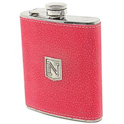 Pewter Monogrammed French Rose Hip Flask