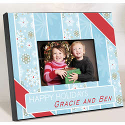 Personalized Snowflakes and Stripes Picture Frame