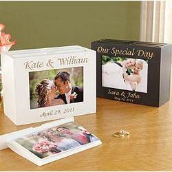 Personalized 3 Holder Wood Photo Box