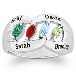Silvertone Family Name and Marquise Birthstone Ring