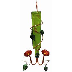 Rocco Green Handcrafted Glass Hummingbird Feeder