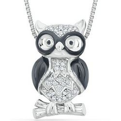 Sterling Silver Round Black and White Diamond Owl Necklace