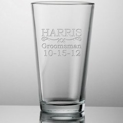 Engraved Groomsmen 16 oz Beer Glass