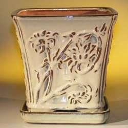 Ceramic Cascade Bonsai Pot with Attached Tray