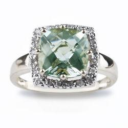 Cushion Cut Green Quartz and Diamond Ring