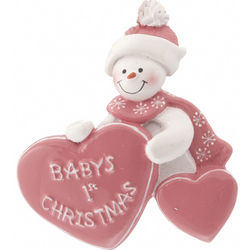 Baby's Girls 1st Christmas with Heart Christmas Ornament