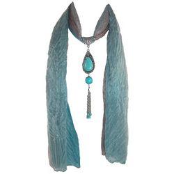 Bijoux Turquoise Pendant Necklace Scarf