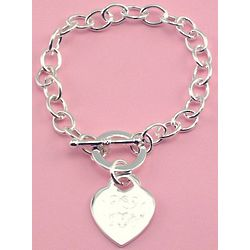 Personalized Silver Plated Heart Tiffany Style Bracelet