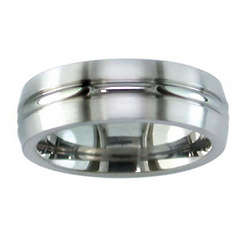 Titanium Matte Finish Band with Polished Center