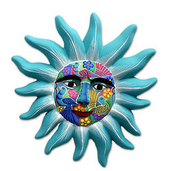 Sentinel Sun Ceramic Mask Wall Decor