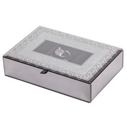 Cameo Mirrored Glass Lace Motif Jewelry Box