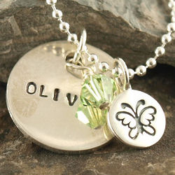 Personalized Tween Butterfly Hand Stamped Necklace