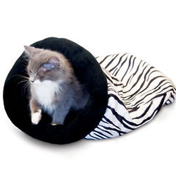 Self-Warming Zebra Stripe Kitty Sack