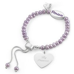 Girl's Purple Pearl Princess Bracelet with Filigree Heart Charm