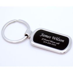 Personalized Oval Keychain in Silver and Black