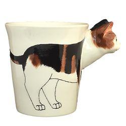 Calico Cat Handpainted Sculptured Ceramic Mug